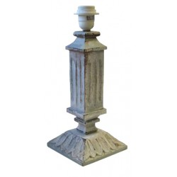 Gray wood column lamp base