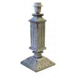 Pied de lampe colonne en bois gris