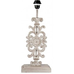 Ceruse flat lamp base with daisy pattern