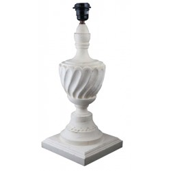 Lamp base with turned wood pattern in white color wood