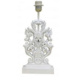 Pied de lampe plat blanc au motif de feuilles de chêne