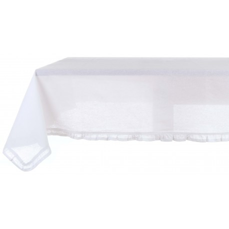 White coated tablecloth with small frills 150 x 240 cm
