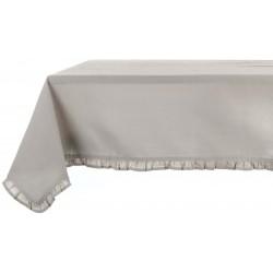 Nappe enduite gris clair à petits volant 150 x 240 cm