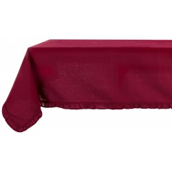 Light grey coated tablecloth with small frills 150 x 240 cm