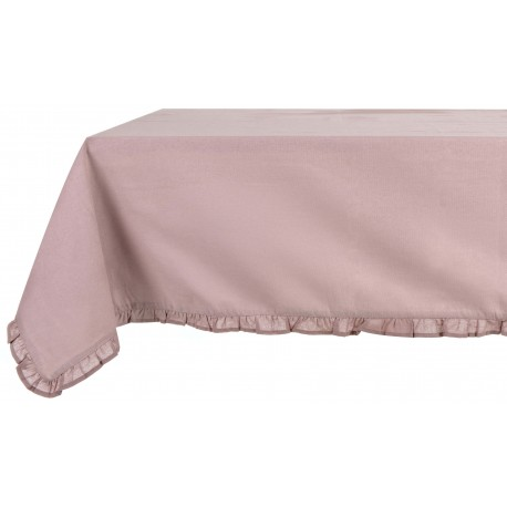 Burgundy coated tablecloth with small frills 150 x 240 cm