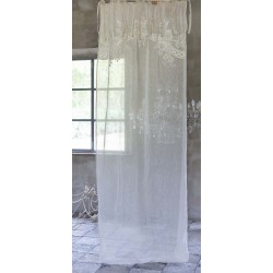 Embroidered natural Turandot linen curtain 140 x 290 cm
