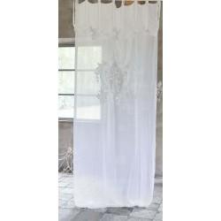 Rideau en lin blanc brodé Lirica 140 x 290 cm