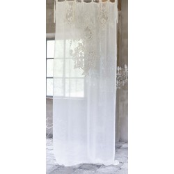 Rideau en lin naturel brodé Tosca 140 x 290 cm