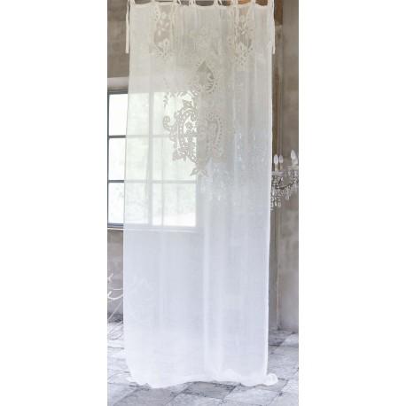 Lirica embroidered white linen curtain 140 x 290 cm