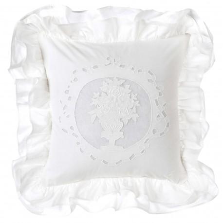 Coussin White Cloud blanc brodé à volants 40 x 40 cm