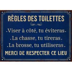 """Plaque """"Règles des toilettes"""" 21 x 15 cm"""