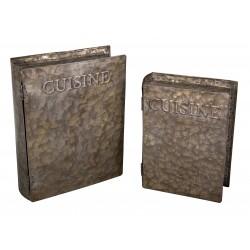 Set 2 boites faux livres cuisine