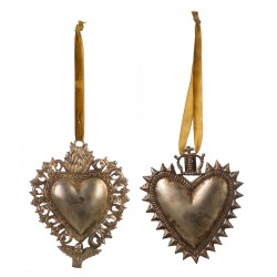 Duo de coeurs décoratifs à suspendre de la collection Ex Voto