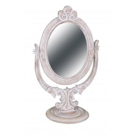 Miroir oval sur pied en bois