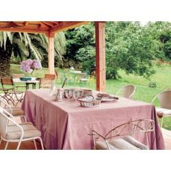 Nappe rose anglais en pur lin 140 x 250 cm