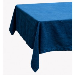Indigo blue 60% linen/40% cotton tablecloth 140 x 250 cm