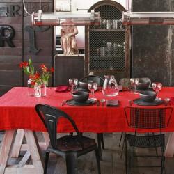 Nappe rouge Calabaza 60% lin/40% coton 140 x 250 cm