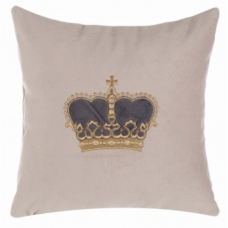 Velvet cushion Vota with dark grey crown 30 x 30