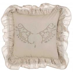Coussin Cuscini beige brodé avec volants 45 x 45 cm