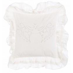 Embroidered beige Cuscini cushion with flounces 45 x 45 cm