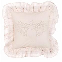 Coussin Cuscini rose clair brodé avec volants 45 x 45 cm