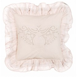 Embroidered light pink Cuscini cushion with flounces 45 x 45 cm