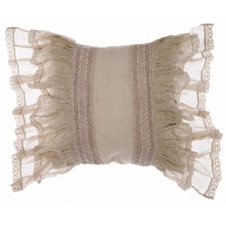Embroidered beige Cuscini linen cushion with flounces 45 x 45 cm