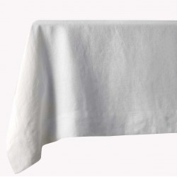 White 60% linen/40% cotton tablecloth 140 x 250 cm