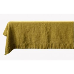 Mustard yellow 60% linen/40% cotton tablecloth 140 x 250 cm