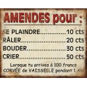 "Metal plate ""Amendes pour…"""