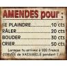 """Plaque décorative """"Amendes pour…"""""""