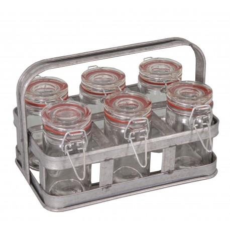 Panier en zinc a 6 mini bocaux