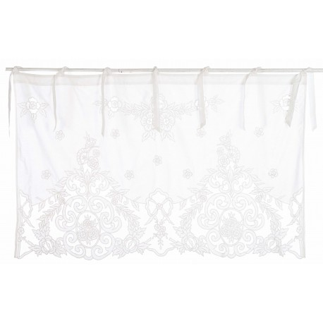 Valance embroidered with ecru medallion 50 x 140 cm