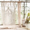 Natural linen color Clizia embroidered linen curtain with knots 140 x 290 cm