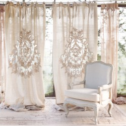 Lisandra embroidered linen curtain with knots 140 x 290 cm