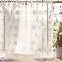 White Floral Jacquard curtain 150 x 290 cm with loops