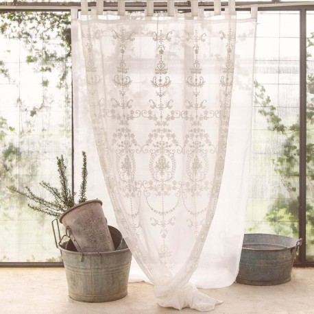 White Letizia curtain 150 x 290 cm with loops