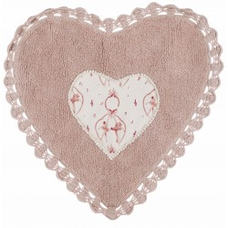 Tappeti heart rug with crochet lace 1300 gsm