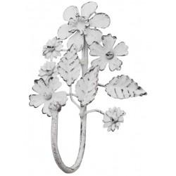 Patère fleurs blanches