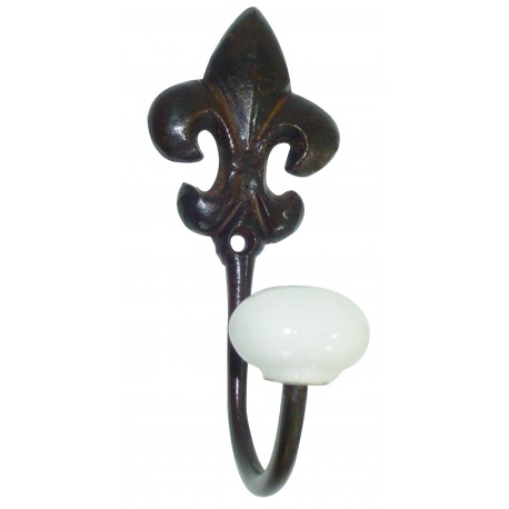 Black metal fleur-de-lis coat hook