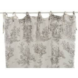 Beige Toile de Jouy cotton curtain with knots 180 x 300 cm