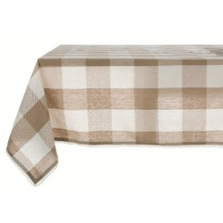 Beige coated tablecloth with large checks 140 x 190 cm