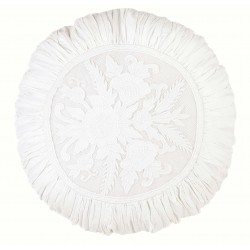Round white embroidered cushion Ø 45 cm Romantic atmosphere