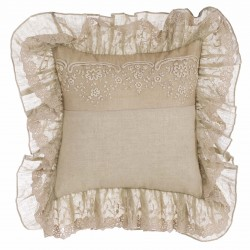 Embroidered beige Cotton Shadows cushion with flounces 45 x 45 cm
