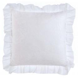Coussin blanc à volants 45 x 45 cm Romantic Atmosphère