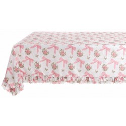 "Pink ""Romanzo"" tablecloth with ruffles 160 x 220 cm"