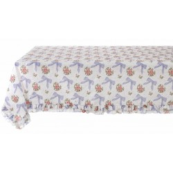 "Blue ""Romanzo"" tablecloth with ruffles 160 x 220 cm"