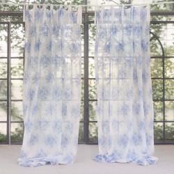 """Rideau """"Tournée"""" bleu 150 x 300 cm à nouettes"""