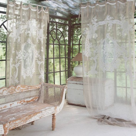 """""""Norma"""" curtain in embroidered linen 140 x 290 cm with knots"""