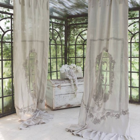 """""""Ali dorate"""" curtain in embroidered linen 140 x 290 cm with knots"""